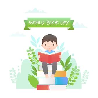 Platte ontwerp wereld boekdag