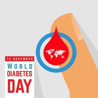 Platte ontwerp wereld diabetes dag concept