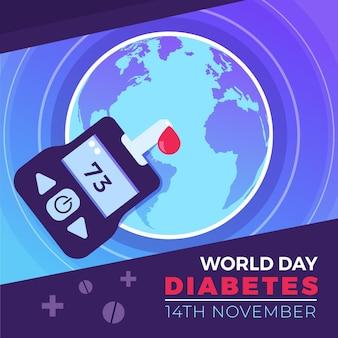 Platte ontwerp wereld diabetes dag glucometer en druppel bloed
