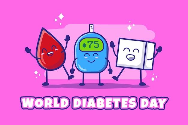 Platte ontwerp wereld diabetes dag illustratie premium vector