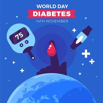Platte ontwerp wereld diabetes dag insuline en vinger