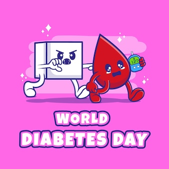 Platte ontwerp wereld diabetes dag met karakter illustratie. premium vector