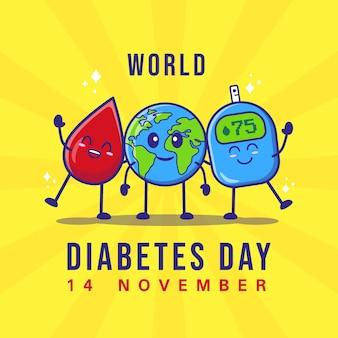 Platte ontwerp wereld diabetes dag premium vector
