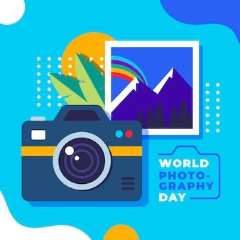 Platte ontwerp wereld fotografie dag concept