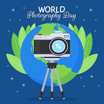 Platte ontwerp wereld fotografie dag evenement illustratie