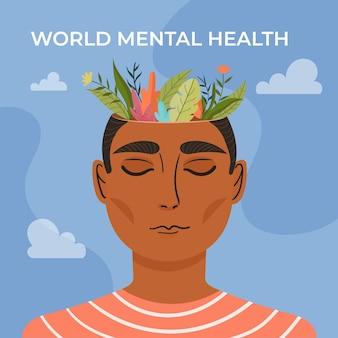 Platte ontwerp wereld geestelijke gezondheid dag concept