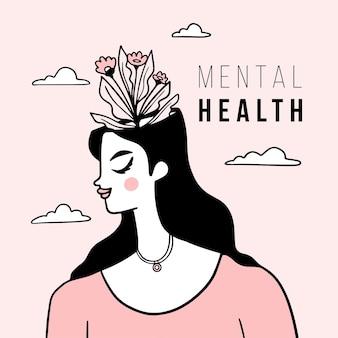 Platte ontwerp wereld geestelijke gezondheidsdag met vrouw