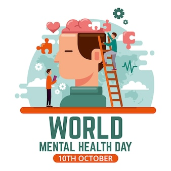 Platte ontwerp wereld geestelijke gezondheidsdag