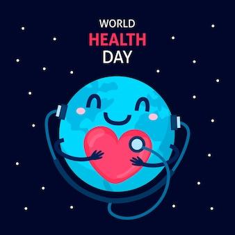 Platte ontwerp wereld gezondheid dag behang