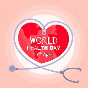 Platte ontwerp wereld gezondheid dag concept