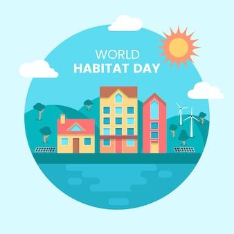Platte ontwerp wereld habitat dag concept