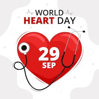 Platte ontwerp wereld hart dag concept