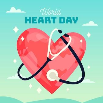 Platte ontwerp wereld hart dag met stethoscoop