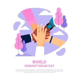 Platte ontwerp wereld humanitaire dagevenement