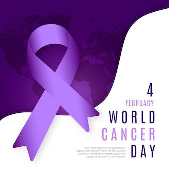 Platte ontwerp wereld kanker dag achtergrond met lint