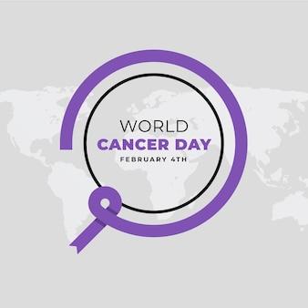 Platte ontwerp wereld kanker dag achtergrond
