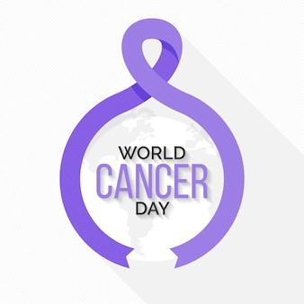 Platte ontwerp wereld kanker dag lint