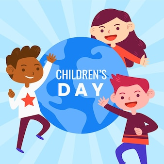 Platte ontwerp wereld kinderdag concept
