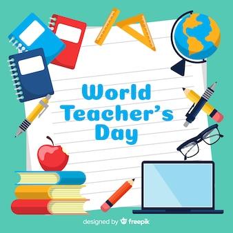 Platte ontwerp wereld leraar dag achtergrond