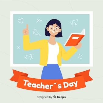 Platte ontwerp wereld leraren dag concept