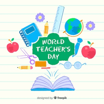 Platte ontwerp wereld leraren dag