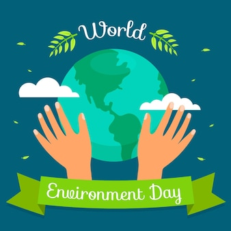 Platte ontwerp wereld milieu dag concept