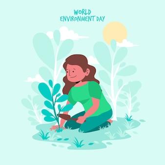 Platte ontwerp wereld milieu dag evenement concept
