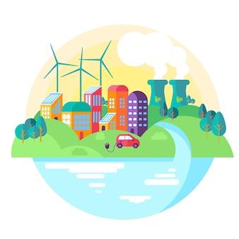 Platte ontwerp wereld milieu dag evenement