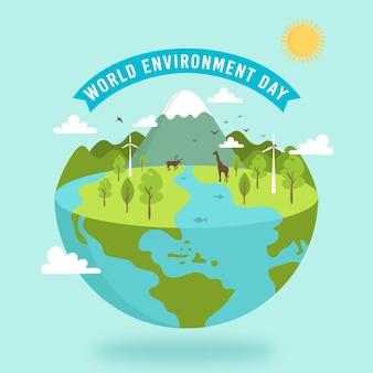 Platte ontwerp wereld milieu dag illustratie