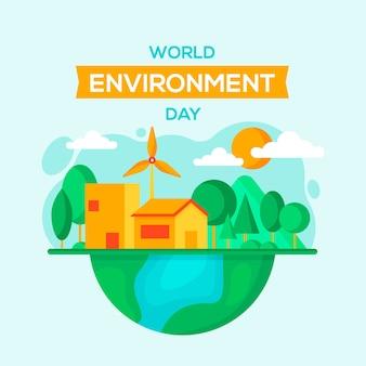 Platte ontwerp wereld milieu dagbericht