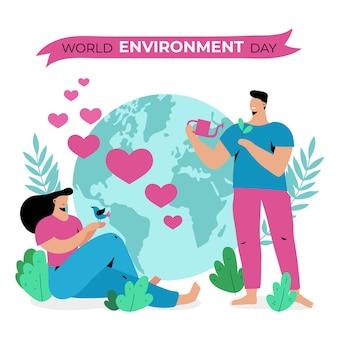 Platte ontwerp wereld milieu dagviering
