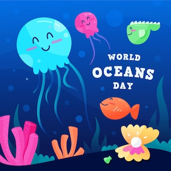 Platte ontwerp wereld oceands dag concept