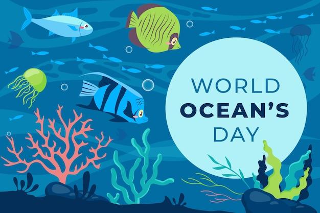 Platte ontwerp wereld oceanen dag banner Gratis Vector