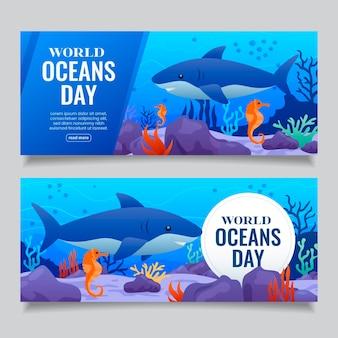 Platte ontwerp wereld oceanen dag banner