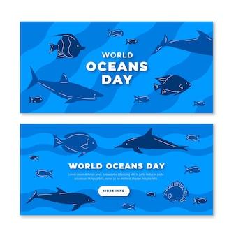 Platte ontwerp wereld oceanen dag banners