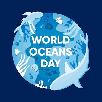 Platte ontwerp wereld oceanen dag concept