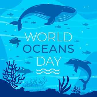 Platte ontwerp wereld oceanen dag evenement