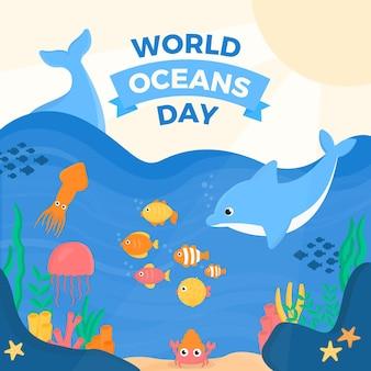 Platte ontwerp wereld oceanen dag thema