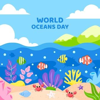 Platte ontwerp wereld oceanen dag