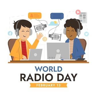 Platte ontwerp wereld radio dag achtergrond met presentatoren