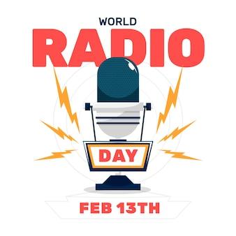 Platte ontwerp wereld radio dag achtergrond