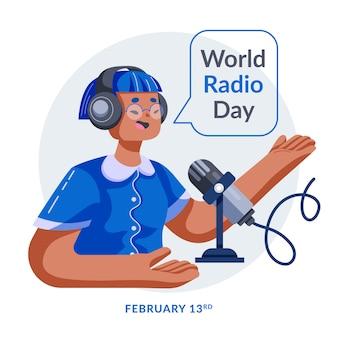 Platte ontwerp wereld radio dag blauw karakter