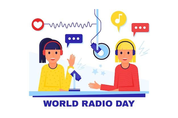 Platte ontwerp wereld radio dag gelukkige mensen