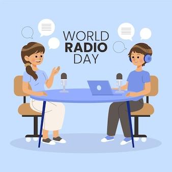 Platte ontwerp wereld radio dag illustratie