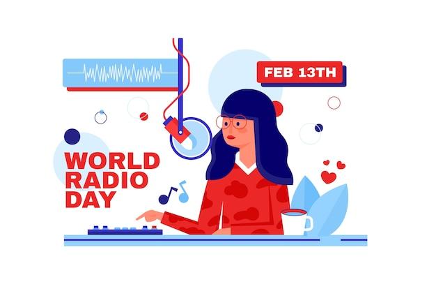 Platte ontwerp wereld radio dag karakter praten