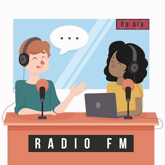 Platte ontwerp wereld radio dag mensen praten