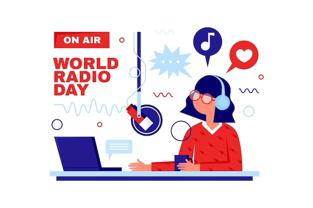 Platte ontwerp wereld radio dag vrouw praten