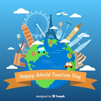 Platte ontwerp wereld toerisme dag
