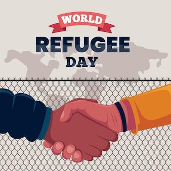 Platte ontwerp wereld vluchtelingendag concept