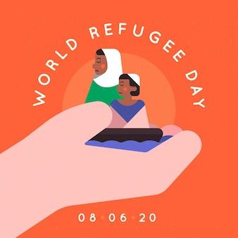 Platte ontwerp wereld vluchtelingendag geïllustreerd